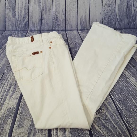 7 For All Mankind Denim - 7FAMK White Distressed Flare Leg Jeans, 28